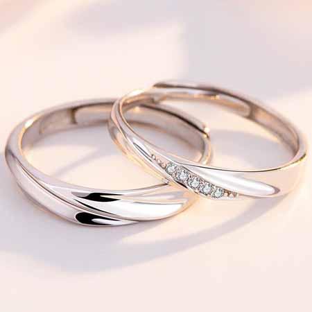 简约活口纯银情侣戒指,时尚大方可刻字的情侣戒指