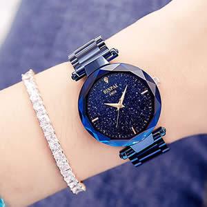 宾派正品宇宙水晶女士手表,时尚潮流的防水手表