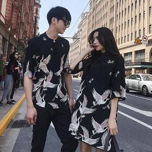 中国风仙鹤印花情侣装,中国风复古潮流情侣装