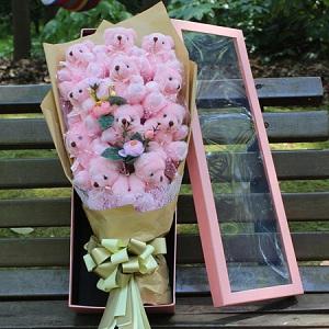 创意泰迪熊公仔娃娃花束,送女友老婆一款永不过时的礼物