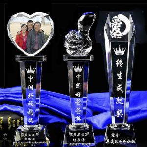 创意个性定制水晶奖杯,大拇指爱心球形多款可选