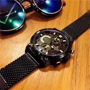 欧美时尚潮流全黑男士手表,多功能防水石英表