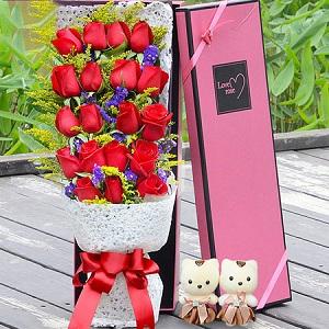 鲜艳玫瑰花束礼盒,情人节送老婆送女友的感动