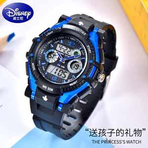 迪士尼防水电子运动表,专为男孩设计的多功能手表