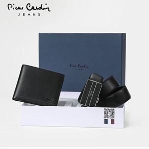 皮尔卡丹真皮钱包皮带礼盒,拼接撞色演绎独特的出众