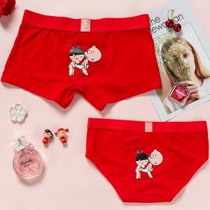 大红色纯棉卡通情侣内裤,结婚时从内到外都要穿情侣装