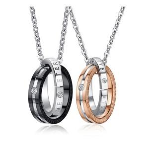 钛钢环环相扣情侣项链,给你最真挚的爱的告白