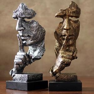 沉默是金现代简约工艺品,创意的办公室艺术品
