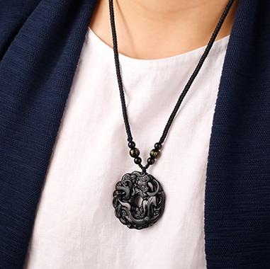 慈元阁开光黑曜石貔貅平安扣项链,有平安发财的寓意